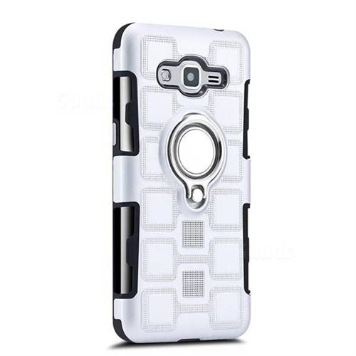 Ice Cube Shockproof PC + Silicon Invisible Ring Holder Phone Case for Samsung Galaxy J2 Prime