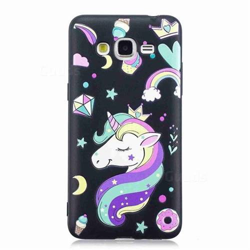 quite nice 113b7 4e493 Candy Unicorn 3D Embossed Relief Black TPU Cell Phone Back Cover for  Samsung Galaxy J2 Prime G532
