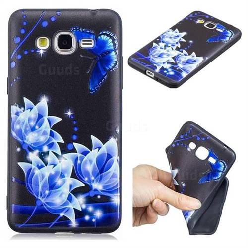 Blue Butterfly 3D Embossed Relief Black TPU Cell Phone Back Cover for Samsung Galaxy J2 Prime G532