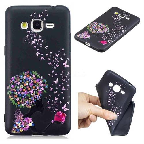 Corolla Girl 3D Embossed Relief Black TPU Cell Phone Back Cover for Samsung Galaxy J2 Prime G532