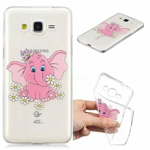 Tiny Pink Elephant Clear Varnish Soft Phone Back Cover for Samsung Galaxy J2 Prime G532