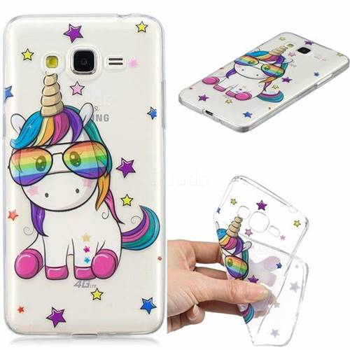 Glasses Unicorn Clear Varnish Soft Phone Back Cover for Samsung Galaxy J2 Prime G532