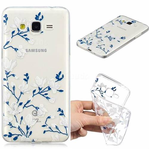 Magnolia Flower Clear Varnish Soft Phone Back Cover for Samsung Galaxy J2 Prime G532