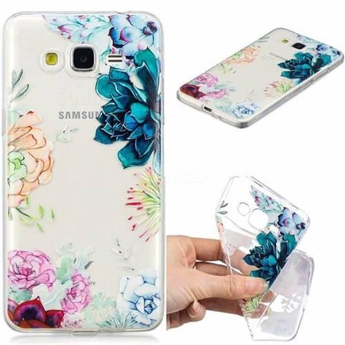 Gem Flower Clear Varnish Soft Phone Back Cover for Samsung Galaxy J2 Prime G532