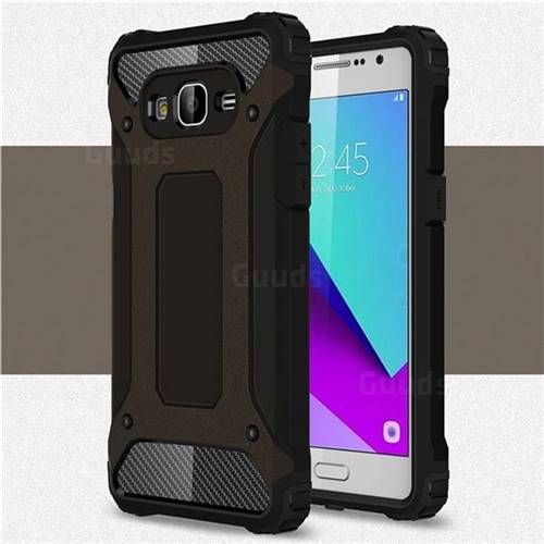 King Kong Armor Premium Shockproof Dual Layer Rugged Hard Cover for Samsung Galaxy J2 Prime G532 - Black Gold