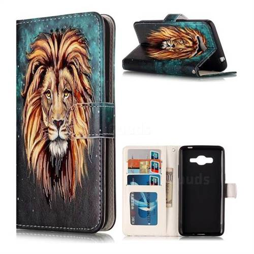 Ice Lion 3D Relief Oil PU Leather Wallet Case for Samsung Galaxy J2 Prime G532