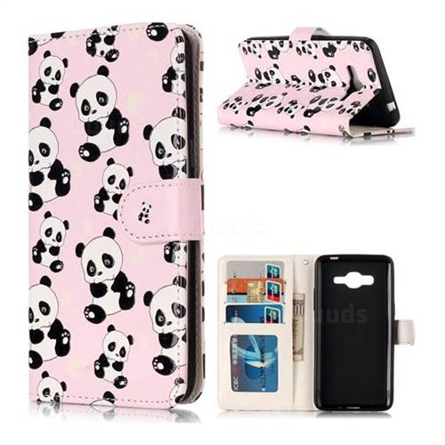 Cute Panda 3D Relief Oil PU Leather Wallet Case for Samsung Galaxy J2 Prime G532