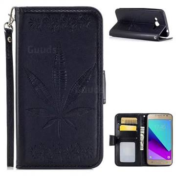Intricate Embossing Maple Leather Wallet Case for Samsung Galaxy J2 Prime G532 - Black