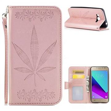 Intricate Embossing Maple Leather Wallet Case for Samsung Galaxy J2 Prime G532 - Rose Gold