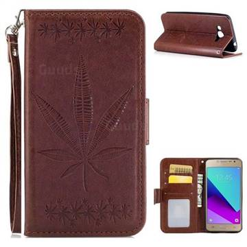 Intricate Embossing Maple Leather Wallet Case for Samsung Galaxy J2 Prime G532 - Brown