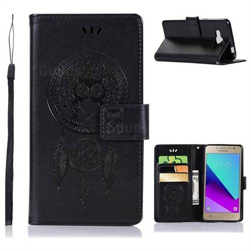 Intricate Embossing Owl Campanula Leather Wallet Case for Samsung Galaxy J2 Prime G532 - Black