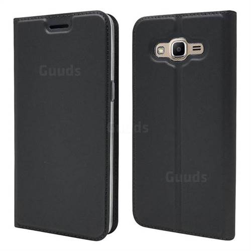 Ultra Slim Card Magnetic Automatic Suction Leather Wallet Case for Samsung Galaxy J2 Prime G532 - Star Grey