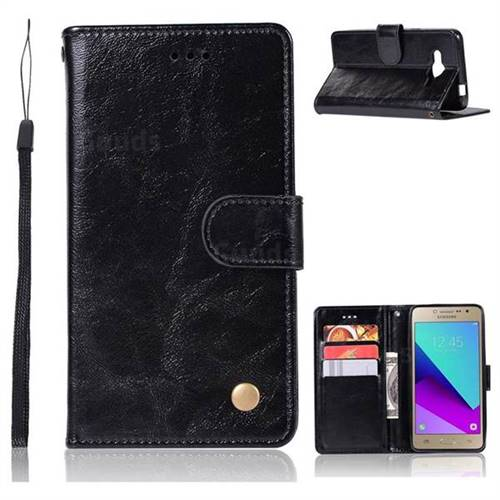 Luxury Retro Leather Wallet Case for Samsung Galaxy J2 Prime G532 - Black
