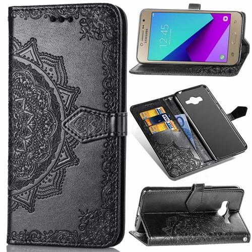 Embossing Imprint Mandala Flower Leather Wallet Case for Samsung Galaxy J2 Prime G532 - Black