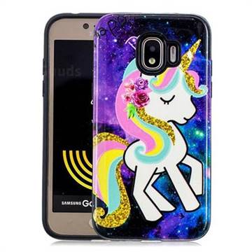 Rainbow Horse Pattern 2 in 1 PC + TPU Glossy Embossed Back Cover for Samsung Galaxy J2 Pro (2018)