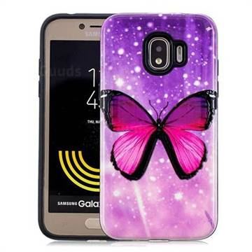 Glossy Butterfly Pattern 2 in 1 PC + TPU Glossy Embossed Back Cover for Samsung Galaxy J2 Pro (2018)