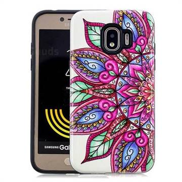 Mandara Flower Pattern 2 in 1 PC + TPU Glossy Embossed Back Cover for Samsung Galaxy J2 Pro (2018)