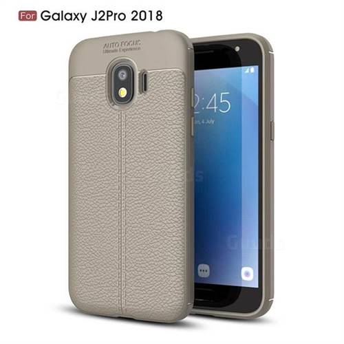 Luxury Auto Focus Litchi Texture Silicone TPU Back Cover for Samsung Galaxy J2 Pro (2018) - Gray