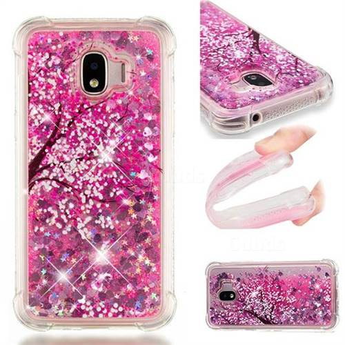 Pink Cherry Blossom Dynamic Liquid Glitter Sand Quicksand Star TPU Case for Samsung Galaxy J2 Pro (2018)