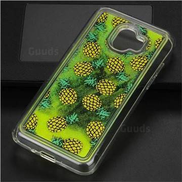 Pineapple Glassy Glitter Quicksand Dynamic Liquid Soft Phone Case for Samsung Galaxy J2 Pro (2018)