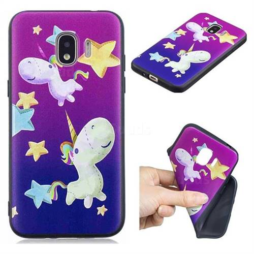 Pony 3D Embossed Relief Black TPU Cell Phone Back Cover for Samsung Galaxy J2 Pro (2018)