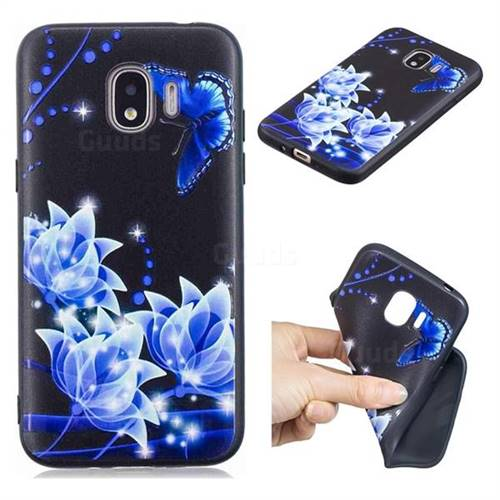 Blue Butterfly 3D Embossed Relief Black TPU Cell Phone Back Cover for Samsung Galaxy J2 Pro (2018)