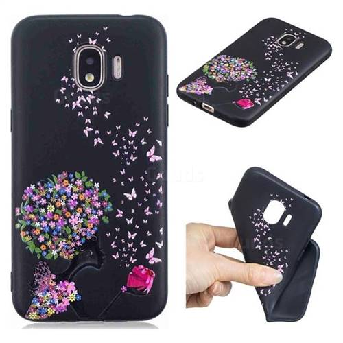 Corolla Girl 3D Embossed Relief Black TPU Cell Phone Back Cover for Samsung Galaxy J2 Pro (2018)