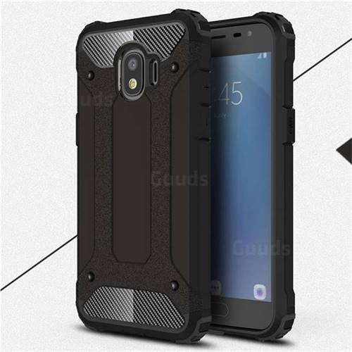 King Kong Armor Premium Shockproof Dual Layer Rugged Hard Cover for Samsung Galaxy J2 Pro (2018) - Black Gold