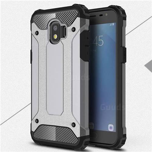 King Kong Armor Premium Shockproof Dual Layer Rugged Hard Cover for Samsung Galaxy J2 Pro (2018) - Silver Grey