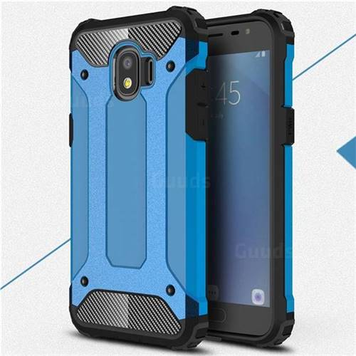 King Kong Armor Premium Shockproof Dual Layer Rugged Hard Cover for Samsung Galaxy J2 Pro (2018) - Sky Blue