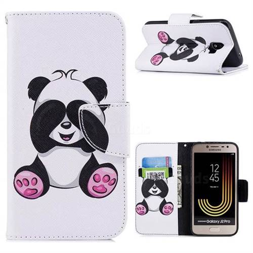 Lovely Panda Leather Wallet Case for Samsung Galaxy J2 Pro (2018)
