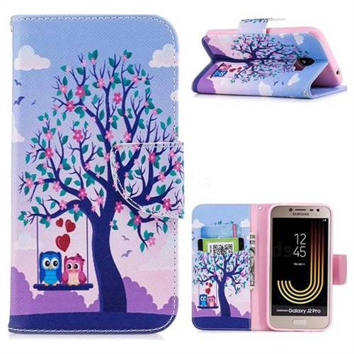 Tree and Owls Leather Wallet Case for Samsung Galaxy J2 Pro (2018)