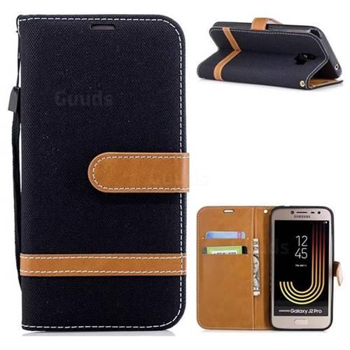 Jeans Cowboy Denim Leather Wallet Case for Samsung Galaxy J2 Pro (2018) - Black