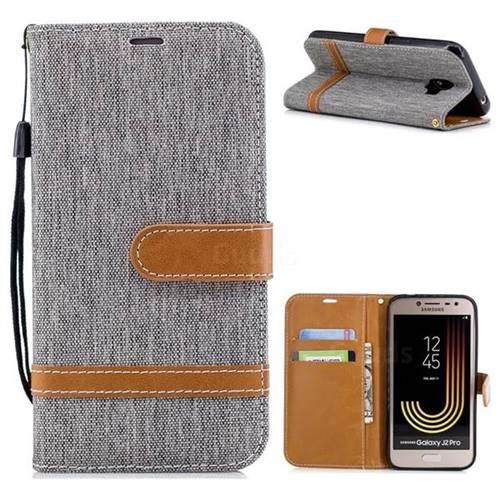 Jeans Cowboy Denim Leather Wallet Case for Samsung Galaxy J2 Pro (2018) - Gray