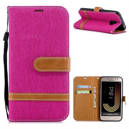 Jeans Cowboy Denim Leather Wallet Case for Samsung Galaxy J2 Pro (2018) - Rose
