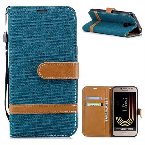 Jeans Cowboy Denim Leather Wallet Case for Samsung Galaxy J2 Pro (2018) - Green