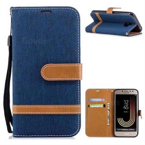 Jeans Cowboy Denim Leather Wallet Case for Samsung Galaxy J2 Pro (2018) - Dark Blue