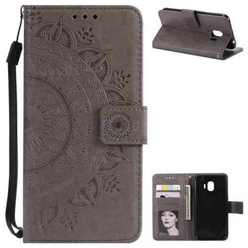 Intricate Embossing Datura Leather Wallet Case for Samsung Galaxy J2 Pro (2018) - Gray