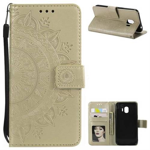 Intricate Embossing Datura Leather Wallet Case for Samsung Galaxy J2 Pro (2018) - Golden