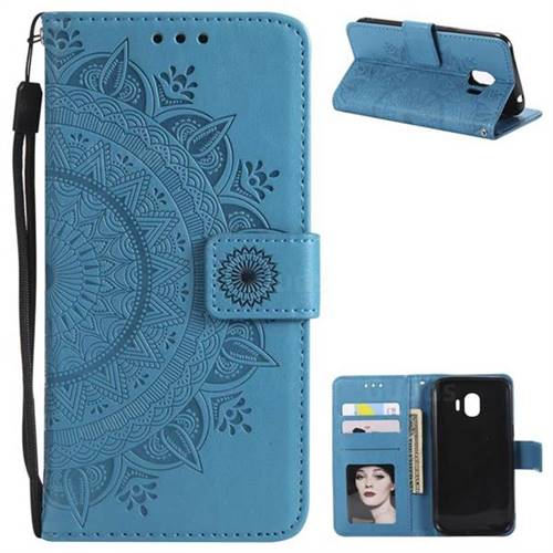 Intricate Embossing Datura Leather Wallet Case for Samsung Galaxy J2 Pro (2018) - Blue