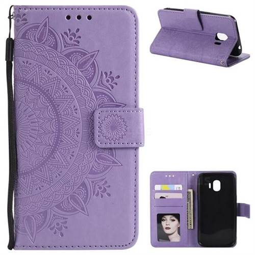 Intricate Embossing Datura Leather Wallet Case for Samsung Galaxy J2 Pro (2018) - Purple