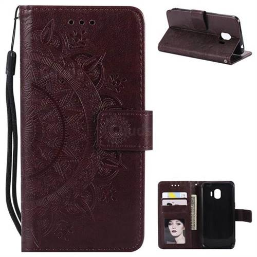 Intricate Embossing Datura Leather Wallet Case for Samsung Galaxy J2 Pro (2018) - Brown