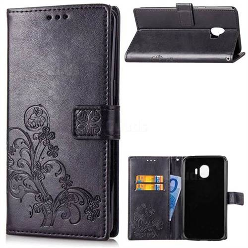 Embossing Imprint Four-Leaf Clover Leather Wallet Case for Samsung Galaxy J2 Pro (2018) - Black