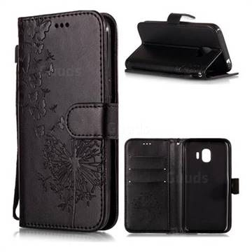 Intricate Embossing Dandelion Butterfly Leather Wallet Case for Samsung Galaxy J2 Pro (2018) - Black