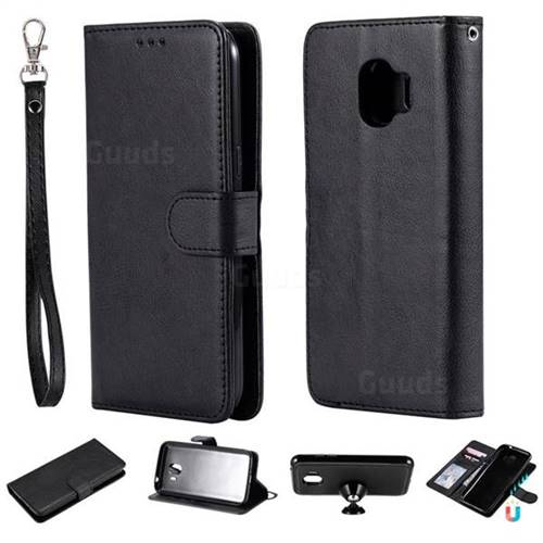 Retro Greek Detachable Magnetic PU Leather Wallet Phone Case for Samsung Galaxy J2 Pro (2018) - Black