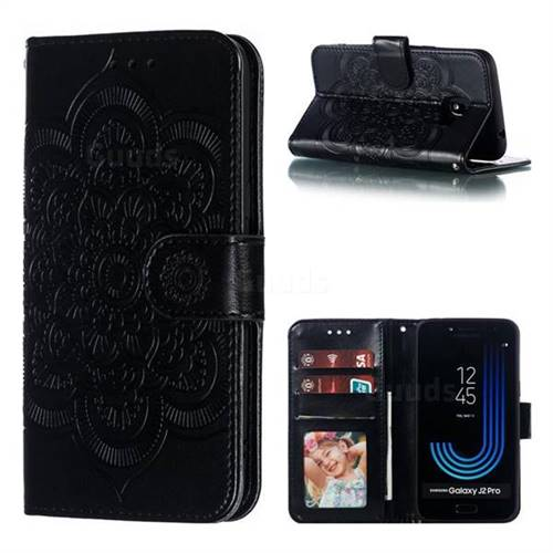 Intricate Embossing Datura Solar Leather Wallet Case for Samsung Galaxy J2 Pro (2018) - Black