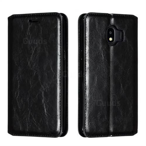 Retro Slim Magnetic Crazy Horse PU Leather Wallet Case for Samsung Galaxy J2 Pro (2018) - Black