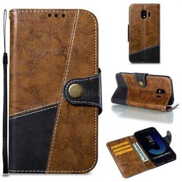 Retro Magnetic Stitching Wallet Flip Cover for Samsung Galaxy J2 Pro (2018) - Brown