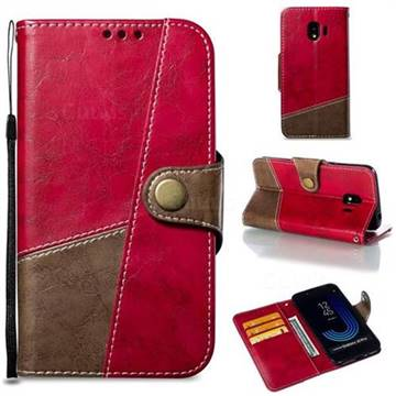 Retro Magnetic Stitching Wallet Flip Cover for Samsung Galaxy J2 Pro (2018) - Rose Red