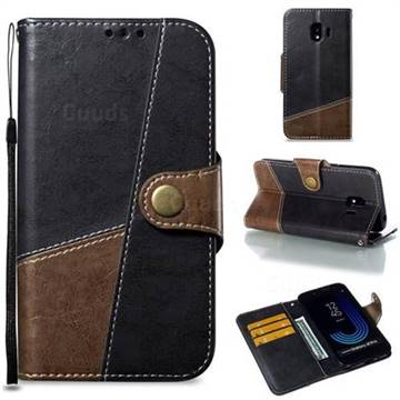 Retro Magnetic Stitching Wallet Flip Cover for Samsung Galaxy J2 Pro (2018) - Dark Gray